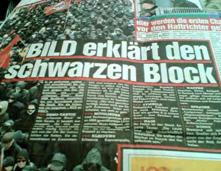 Bildzeitung über den Schwarzen Block (Ausriss)
